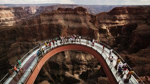 Skywalk at Grand Canyon attraction at West Rim after helicopter tour