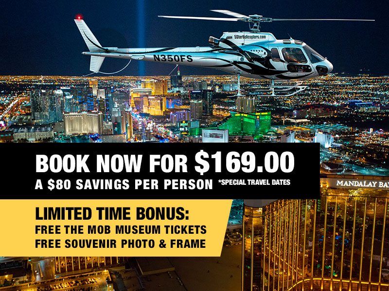 Las Vegas Night Strip Helicopter & Dining Package Value $249.00