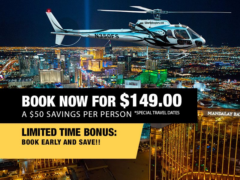Las Vegas Night Strip Helicopter & Dining Package Value $199.00