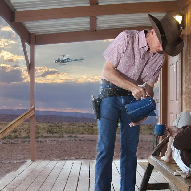 GRAND CANYON WEST HUALAPAI RANCH OVERNIGHT CABIN STAY BY HELICOPTER AND GROUND TOUR SUNRISE